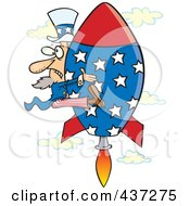 Royalty Free RF Clipart Illustration Of Uncle Sam Shooting Upwards On A Rocket