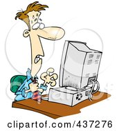 Royalty Free RF Clipart Illustration Of A Stressed Cartoon Businessman Worrying At His Computer