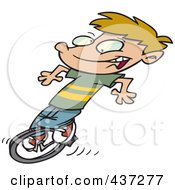 Royalty Free RF Clipart Illustration Of A Cartoon Boy Riding A Unicycle by toonaday