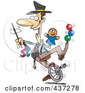 Cartoon Male Entertainer Doing Tricks On A Unicycle