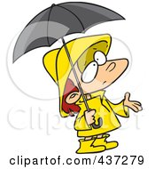 Royalty Free RF Clipart Illustration Of A Cartoon Girl In Rain Gear Waiting For Showers