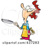Cartoon Woman Looking Up And Holding A Pan