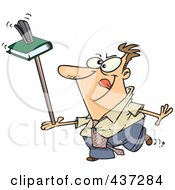 Royalty Free RF Clipart Illustration Of An Unproductive Cartoon Businessman Balancing A Book And Stapler On A Ruler
