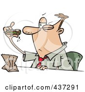 Cartoon Businessman Eating A Boring Sandwich