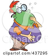 Royalty Free RF Clipart Illustration Of A Sick Green Man Grabbing His Mouth And Holding His Belly