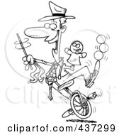 Royalty Free RF Clipart Illustration Of A Black And White Outline Design Of A Male Entertainer Doing Tricks On A Unicycle