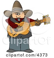Country Cowboy Playing An Acoustic Guitar Clipart by djart
