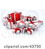Clipart Illustration Of White Various Sized Gift Boxes Surrounding A Big Red One