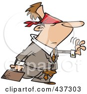 Royalty Free RF Clipart Illustration Of A Blindfolded Cartoon Businessman Reaching Out With Uncertainty by toonaday