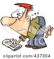 Royalty Free RF Clipart Illustration Of A Cartoon Man Hurting His Back While Picking Up A Newspaper