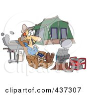 Royalty Free RF Clipart Illustration Of A Cartoon Man Watching Tv Hooked Up To A Generator At His Camp Site by Ron Leishman