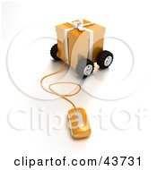 Clipart Illustration Of A Computer Mouse Connected To A Wheeled Orange Christmas Present
