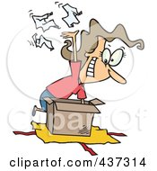 Royalty Free RF Clipart Illustration Of A Cartoon Woman Tearing The Wrapping Paper Off Of A Gift