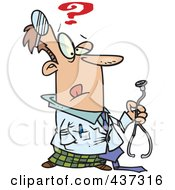 Royalty Free RF Clipart Illustration Of An Uncertain Doctor Holding A Stethoscope by toonaday