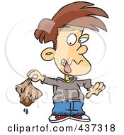 Royalty Free RF Clipart Illustration Of A Disgusted Boy Holding A Muddy Lunch Bag