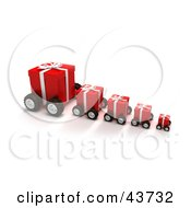 Clipart Illustration Of A Row Of Red Christmas Gifts On Wheels