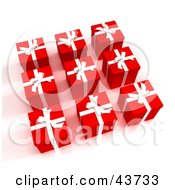 Clipart Illustration Of Nine 3d Red And White Wrapped Gifts