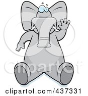 Royalty Free RF Clipart Illustration Of A Friendly Elephant Sitting And Waving by Cory Thoman