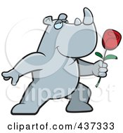 Royalty Free RF Clipart Illustration Of A Romantic Rhino Presenting A Single Rose