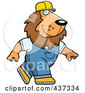 Royalty Free RF Clipart Illustration Of A Builder Lion Walking by Cory Thoman
