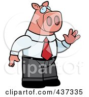 Royalty Free RF Clipart Illustration Of A Business Pig Standing And Waving