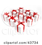 Clipart Illustration Of Nine 3d Gifts Wrapped In White Paper With Red Bows And Ribbons