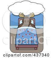 Royalty Free RF Clipart Illustration Of A Moose Dreaming And Sleeping In A Bed