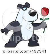 Royalty Free RF Clipart Illustration Of A Romantic Panda Presenting A Single Rose