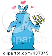 Royalty Free RF Clipart Illustration Of A Blue Aardvark Holding Daisies by Cory Thoman