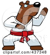 Royalty Free RF Clipart Illustration Of A Karate Bear With A Red Belt by Cory Thoman