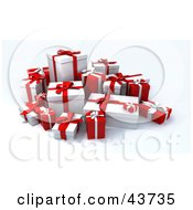 Clipart Illustration Of A Group Of Gift Boxes Wrapped In Red And White