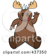 Royalty Free RF Clipart Illustration Of A Friendly Moose Sitting And Waving