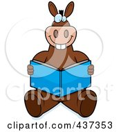 Royalty Free RF Clipart Illustration Of A Happy Donkey Sitting On The Floor And Reading by Cory Thoman