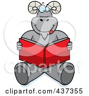 Royalty Free RF Clipart Illustration Of A Happy Ram Sitting On The Floor And Reading