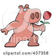 Royalty Free RF Clipart Illustration Of A Romantic Hippo Presenting A Single Rose