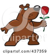 Royalty Free RF Clipart Illustration Of A Romantic Bear Presenting A Single Rose