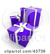 Clipart Illustration Of Three Blue Gift Boxes With White Ribbons And Bows