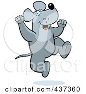 Royalty Free RF Clipart Illustration Of An Excited Rat Jumping by Cory Thoman