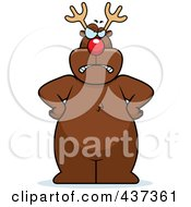 Royalty Free RF Clipart Illustration Of A Mad Rudolph Standing With His Hands On His Hips by Cory Thoman