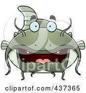 Royalty-Free (RF) Clipart Illustration of a Green Catfish by Cory Thoman