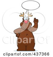 Royalty Free RF Clipart Illustration Of Rudolph Standing Under A Thought Balloon by Cory Thoman