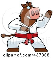 Royalty Free RF Clipart Illustration Of A Karate Boar With A Red Belt