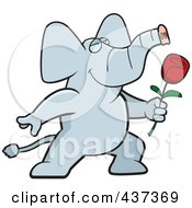 Royalty Free RF Clipart Illustration Of A Romantic Elephant Presenting A Single Rose