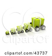 Clipart Illustration Of A Line Of Green Christmas Presents On Wheels