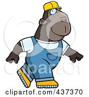 Royalty Free RF Clipart Illustration Of A Builder Ape Walking by Cory Thoman
