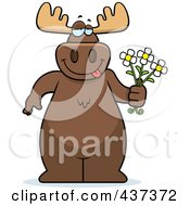 Royalty Free RF Clipart Illustration Of A Romantic Moose Holding Daisy Flowers