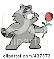 Royalty Free RF Clipart Illustration Of A Romantic Raccoon Presenting A Single Rose