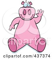 Royalty Free RF Clipart Illustration Of A Friendly Pink Hippo Sitting And Waving