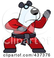 Royalty Free RF Clipart Illustration Of A Karate Panda With A Red Belt by Cory Thoman