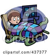 Royalty Free RF Clipart Illustration Of A Tentacled Monster Emerging From Under A Boys Bed by Cory Thoman